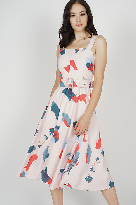 Flared Midi Dress in Brushstrokes - Arriving Soon