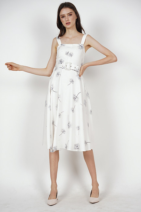 Flared Midi Dress in White Floral