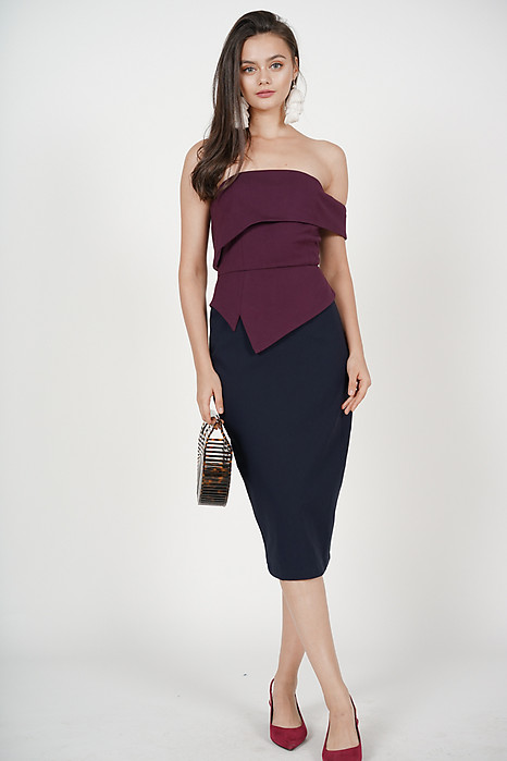 Flap-Over Toga Dress in Burgundy