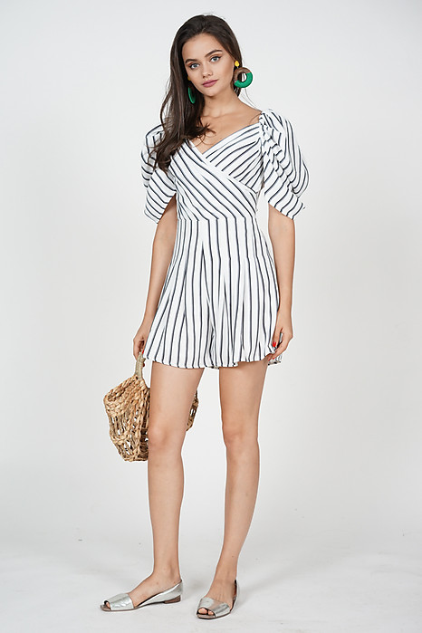Annabelle Puff Romper in Stripes