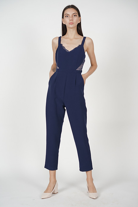 Strappy Lace-Trimmed Jumpsuit in Midnight