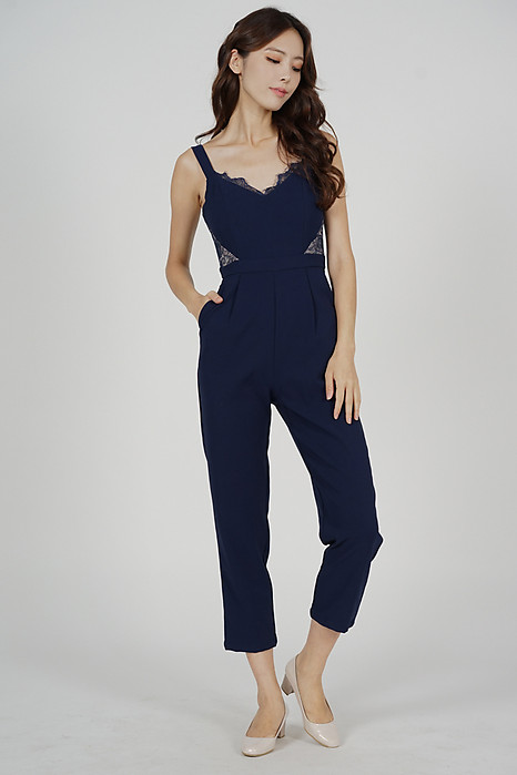 Strappy Lace-Trimmed Jumpsuit in Navy