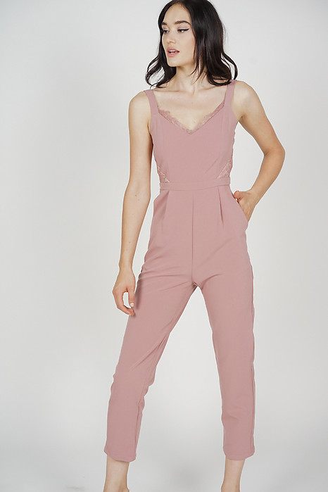 Strappy Lace-Trimmed Jumpsuit in Pink - Arriving Soon