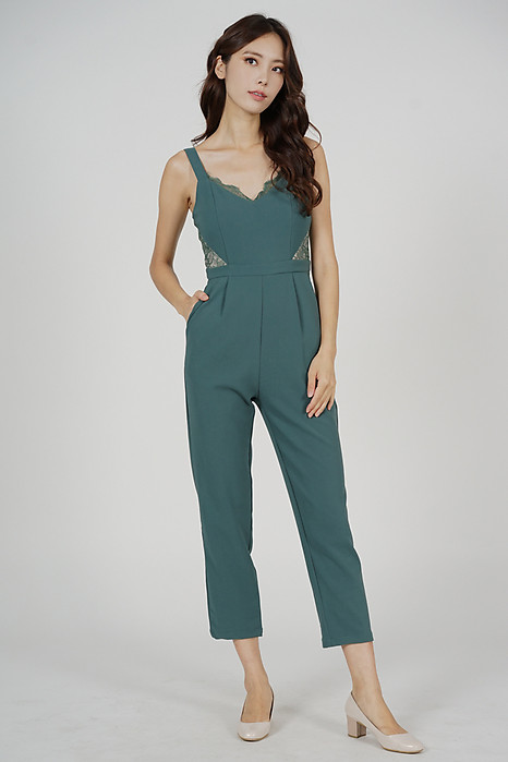 Strappy Lace-Trimmed Jumpsuit in Seafoam - Arriving Soon