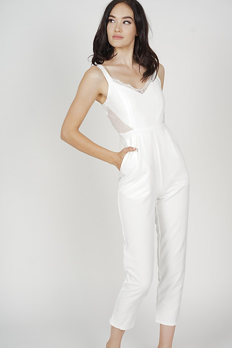 Strappy Lace-Trimmed Jumpsuit in White