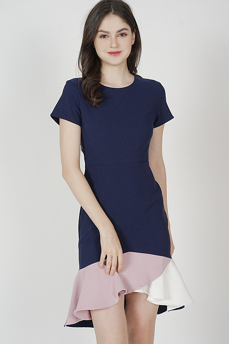 Color-Block Mermaid Dress in Navy - Arriving Soon