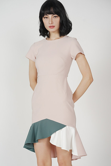 Color-Block Mermaid Dress in Pink