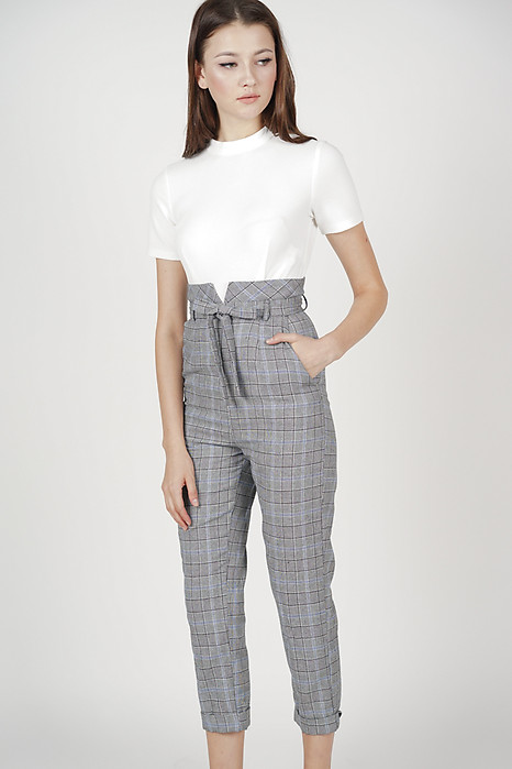 Contrast Tie Jumpsuit in Blue Checks - Arriving Soon