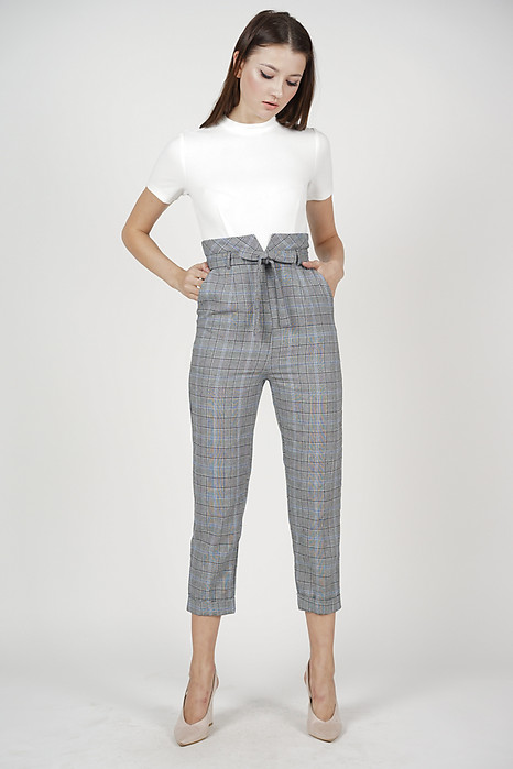 Contrast Tie Jumpsuit in Blue Checks