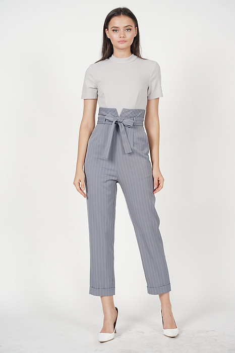 Contrast Tie Jumpsuit in Grey Stripes