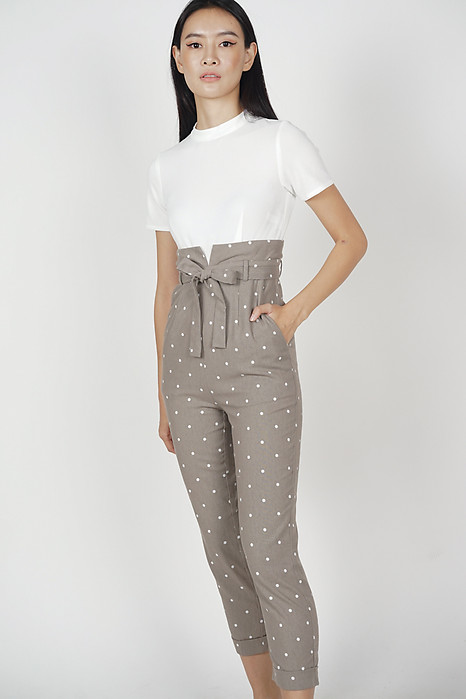 Contrast Tie Jumpsuit in Taupe Polka Dots - Arriving Soon