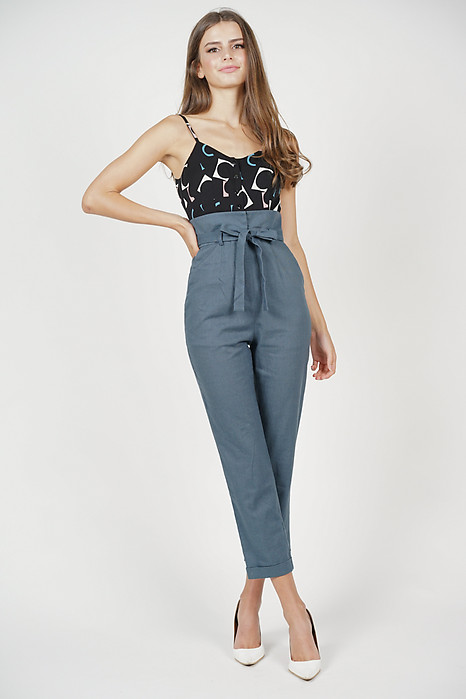Aster Cami Jumpsuit in Black Abstract