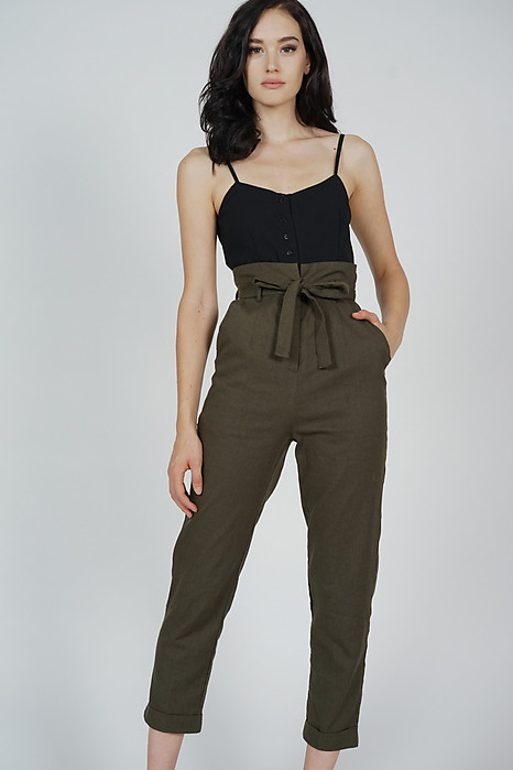 Aster Cami Jumpsuit in Black Olive - Arriving Soon