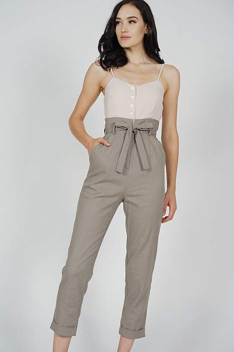 Aster Cami Jumpsuit in Nude Taupe