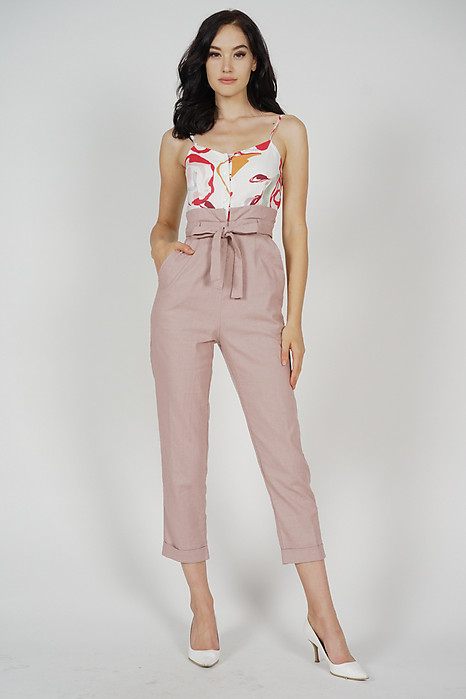 Aster Cami Jumpsuit in White Red - Arriving Soon