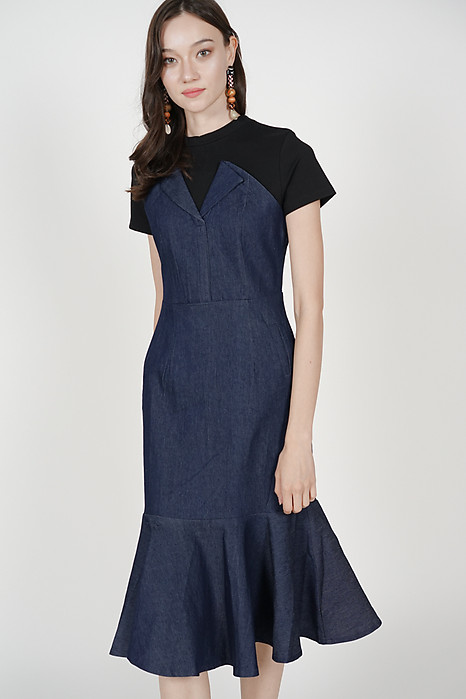 Lapel Flap-Over Dress in Denim