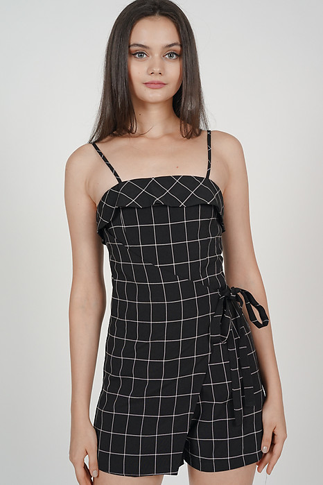 Phyllis Wrapped Romper in Black Grid