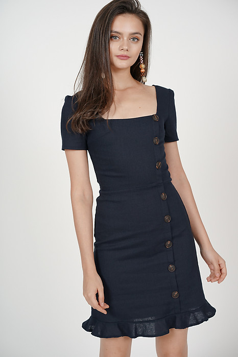 Damica Button-Down Dress in Midnight - Arriving Soon