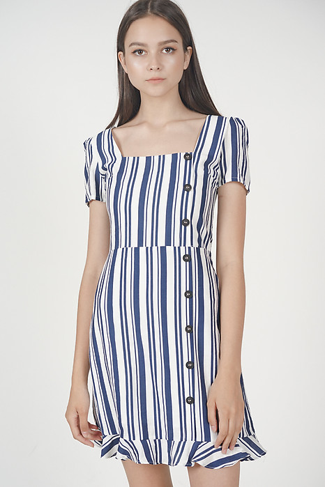 Damica Button-Down Dress in Navy Stripes