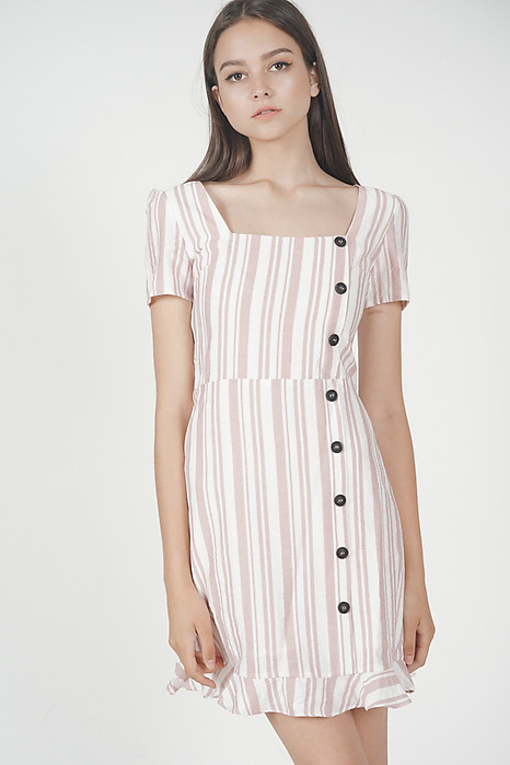 Damica Button-Down Dress in Pink Stripes