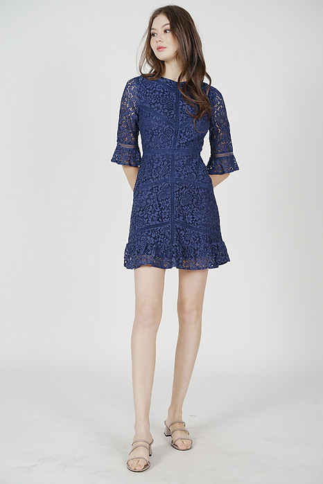 Dallon Lace Dress in Navy - Arriving Soon