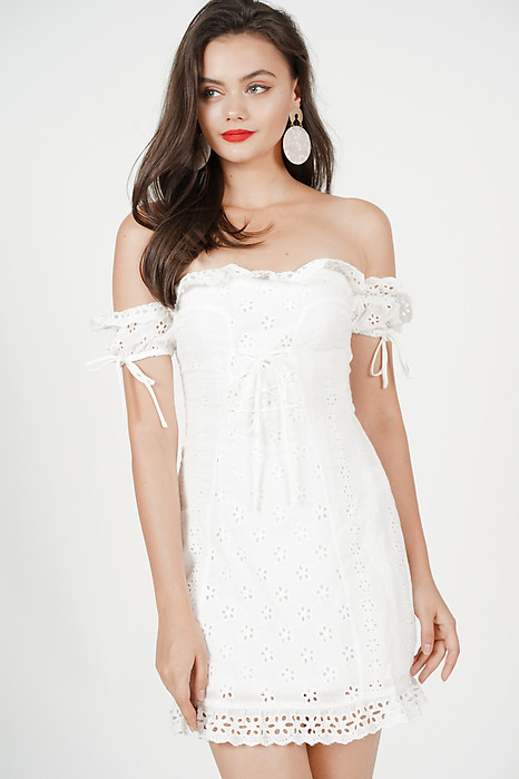 Reina Off Shoulder Dress in Off White - Arriving Soon