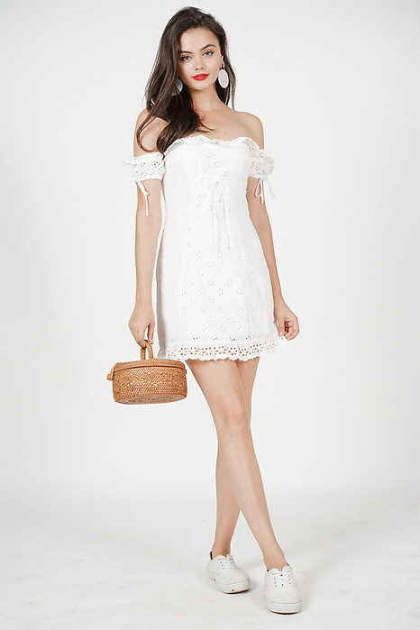 Reina Off Shoulder Dress in Off White