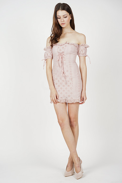 Reina Off Shoulder Dress in Pink - Arriving Soon