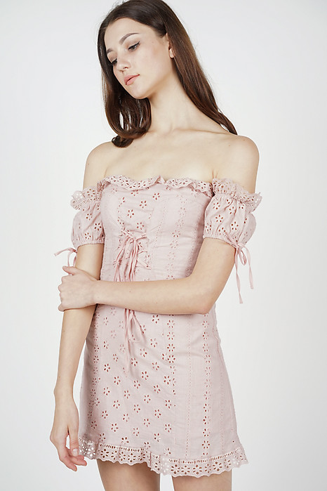 Reina Off Shoulder Dress in Pink