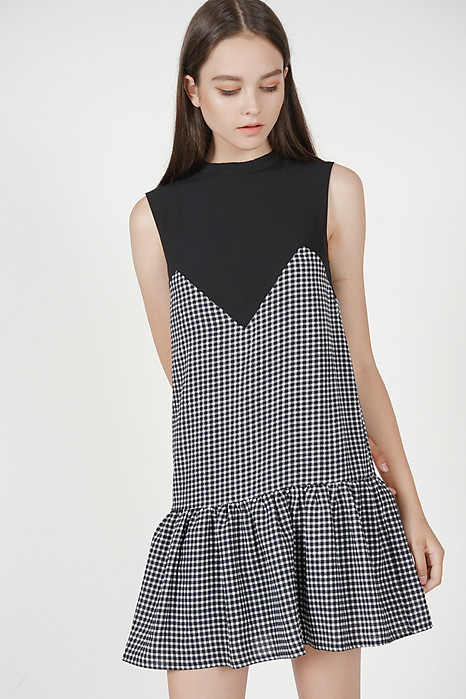 Freya Ruffled-Hem Dress in Black Gingham