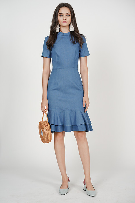 Serra Flare-Hem Dress in Light Denim