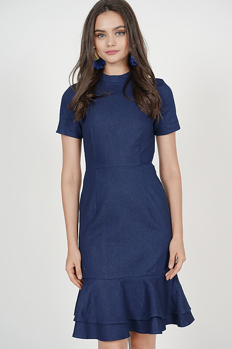 Serra Flare-Hem Dress in Dark Denim