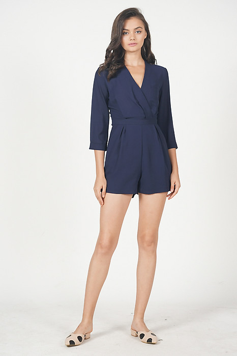 Kairi Wrapped Romper in Midnight