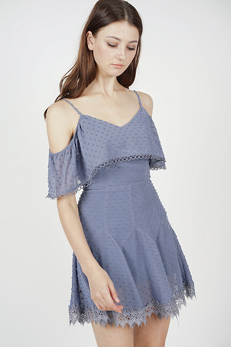 Maisie Crochet-Trimmed Dress in Ash Blue