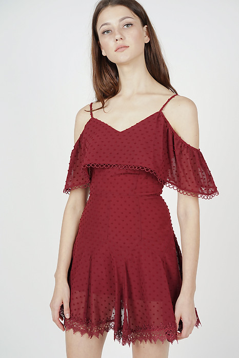Maisie Crochet-Trimmed Dress in Maroon