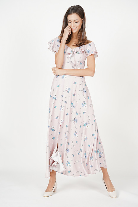Katerina Ruffled Dress in Blush Floral