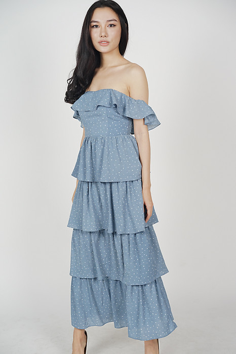 Olara Tiered Dress in Ash Blue Polka Dots