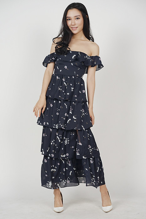 Olara Tiered Dress in Midnight Floral