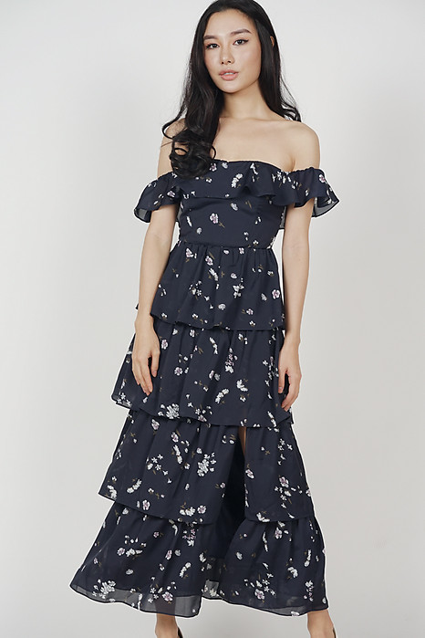 Olara Tiered Dress in Midnight Floral - Arriving Soon
