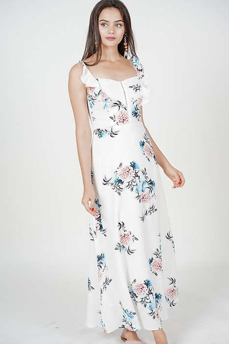 Ourea Maxi Dress in White Floral