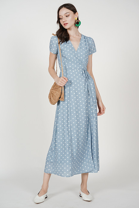 Dhara Wrapped Dress in Light Blue Polka Dots
