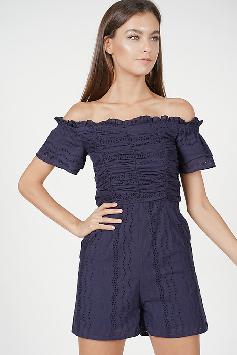 Off Shoulder Ruched Romper in Midnight