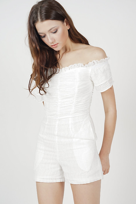 Off Shoulder Ruched Romper in White