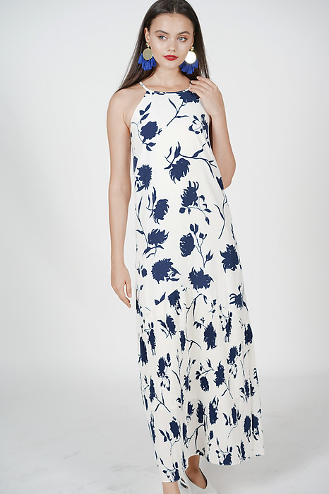 Shani Halter Dress in White Blue Floral