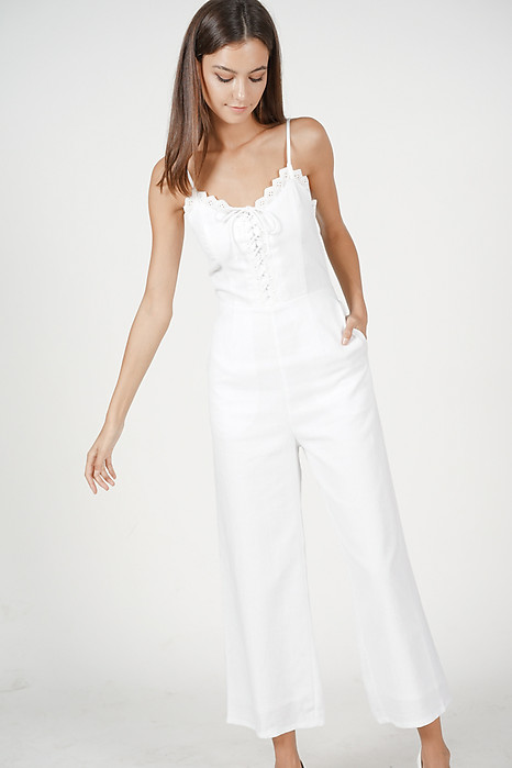 Lace-Up Crochet Jumpsuit in White