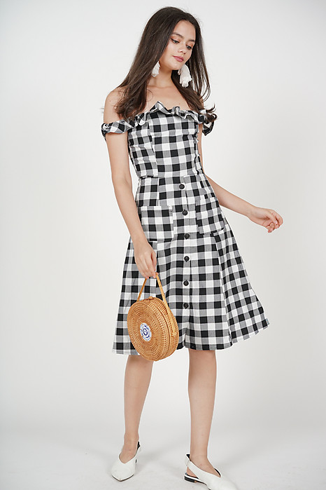 Frilly Flared Dress in Black Gingham