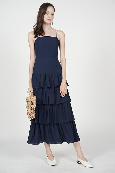 Dionne Layered Dress in Midnight