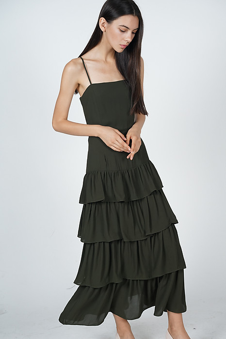 Dionne Layered Dress in Olive