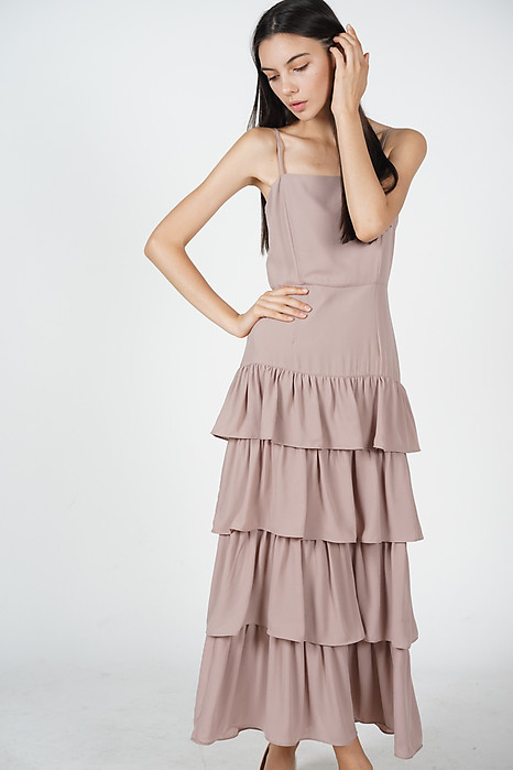 Dionne Layered Dress in Taupe