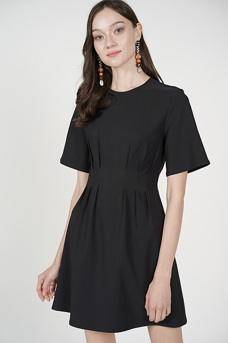 Pleated Boxy Dress in Black